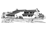 Santa Fe House Plan Front of Home - 072D-0730 | House Plans and More