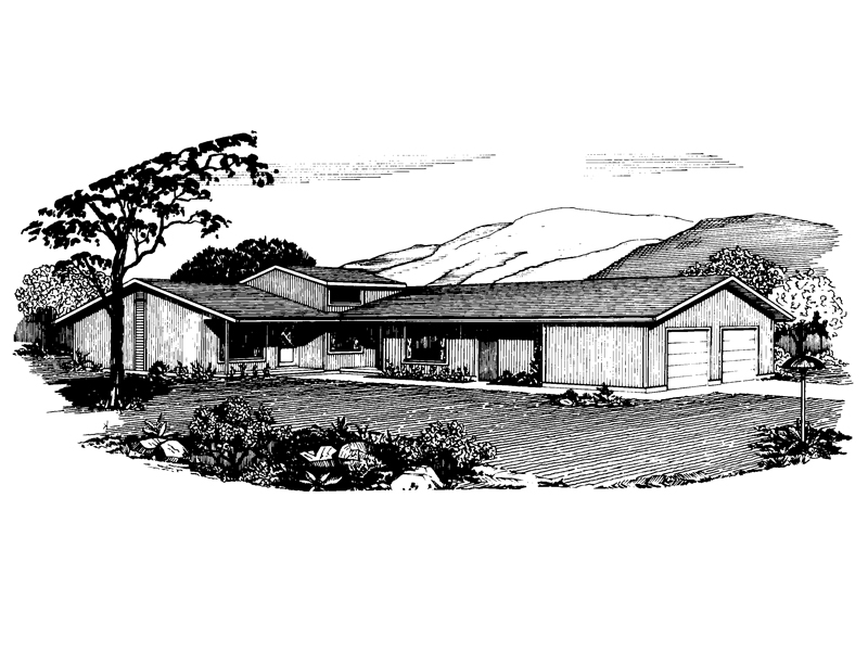 Ranch House Plan Front of Home - 072D-0735 | House Plans and More
