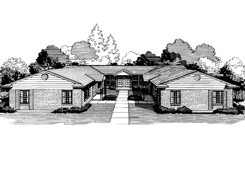 Ranch House Plan Front of Home - 072D-0739 | House Plans and More
