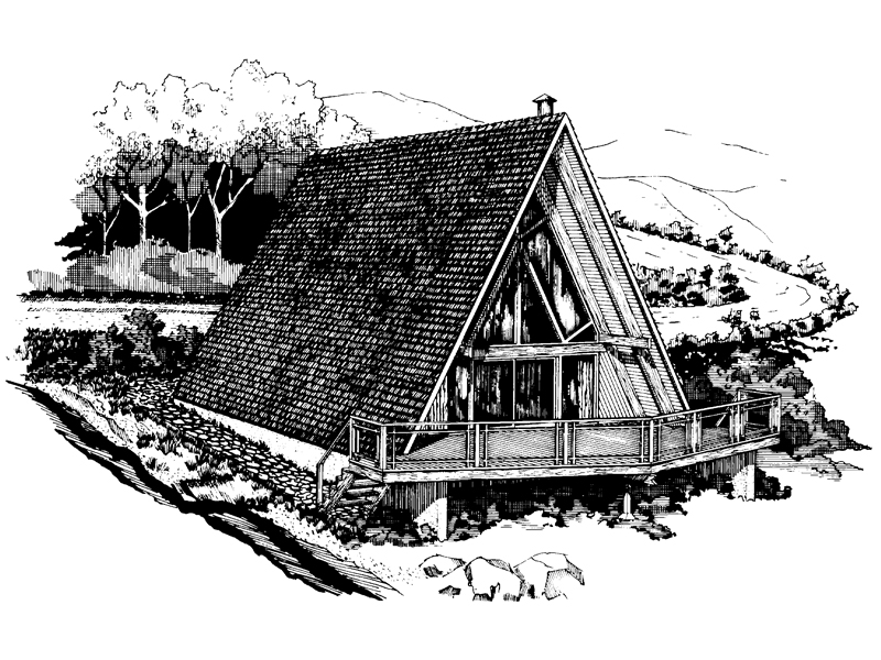 A-Frame Home Plan Front of Home - 072D-0746 | House Plans and More