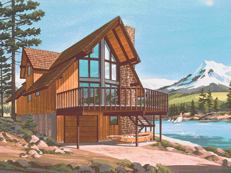 A-Frame Home Plan Front of Home - 072D-0759 | House Plans and More