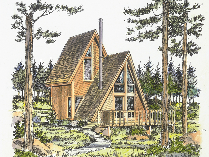 Cabin and Cottage Plan Front of Home - 072D-0775 | House Plans and More