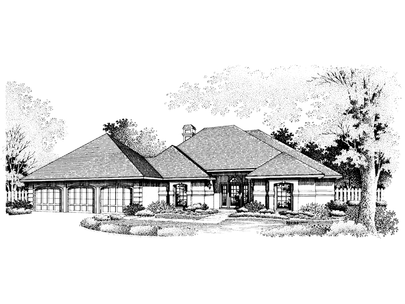 Ranch House Plan Front of Home - 072D-0796 | House Plans and More