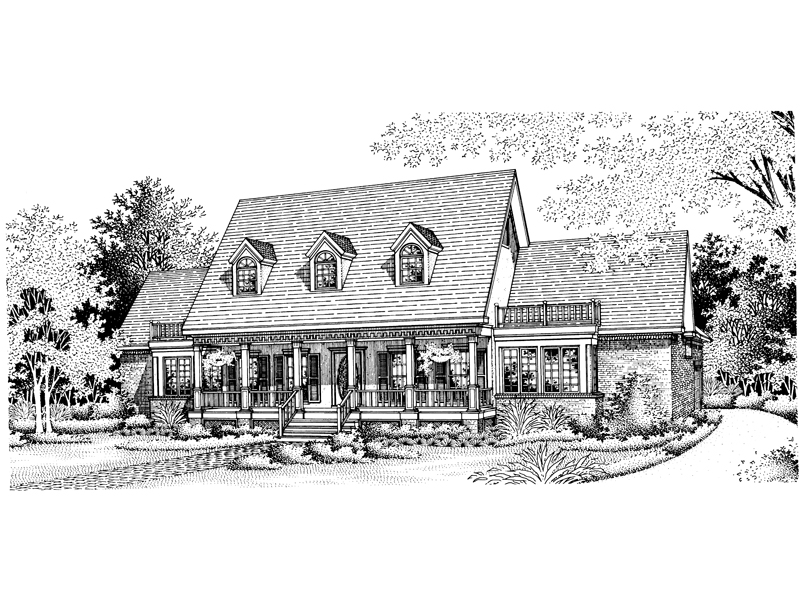 Farmhouse Plan Front of Home - 072D-0797 | House Plans and More