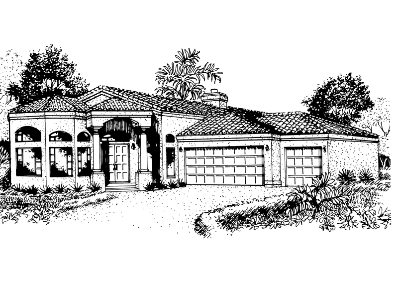 Spanish House Plan Front of Home - 072D-0817 | House Plans and More