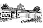 Santa Fe House Plan Front of Home - 072D-0817 | House Plans and More