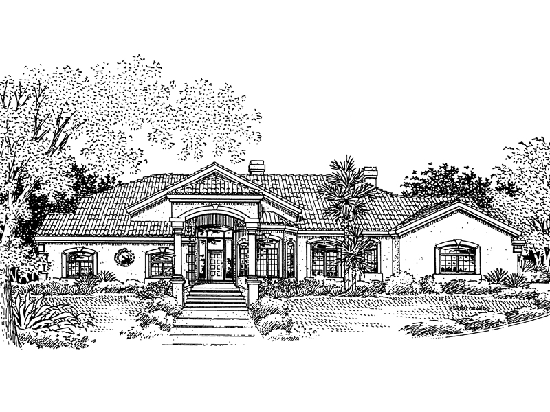 Adobe & Southwestern House Plan Front of Home - 072D-0818 | House Plans and More