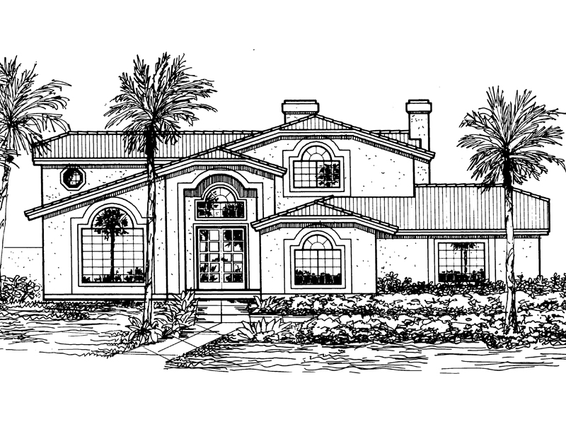 Santa Fe House Plan Front of Home - 072D-0821 | House Plans and More