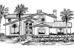 Sunbelt Home Plan Front of Home - 072D-0821 | House Plans and More