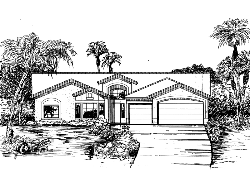 Adobe & Southwestern House Plan Front of Home - 072D-0822 | House Plans and More