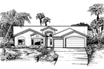 Sunbelt Home Plan Front of Home - 072D-0822 | House Plans and More