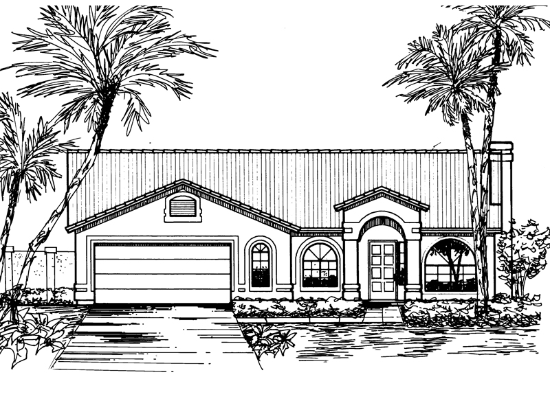 Adobe and Southwestern Plan Front of Home - 072D-0825 | House Plans and More