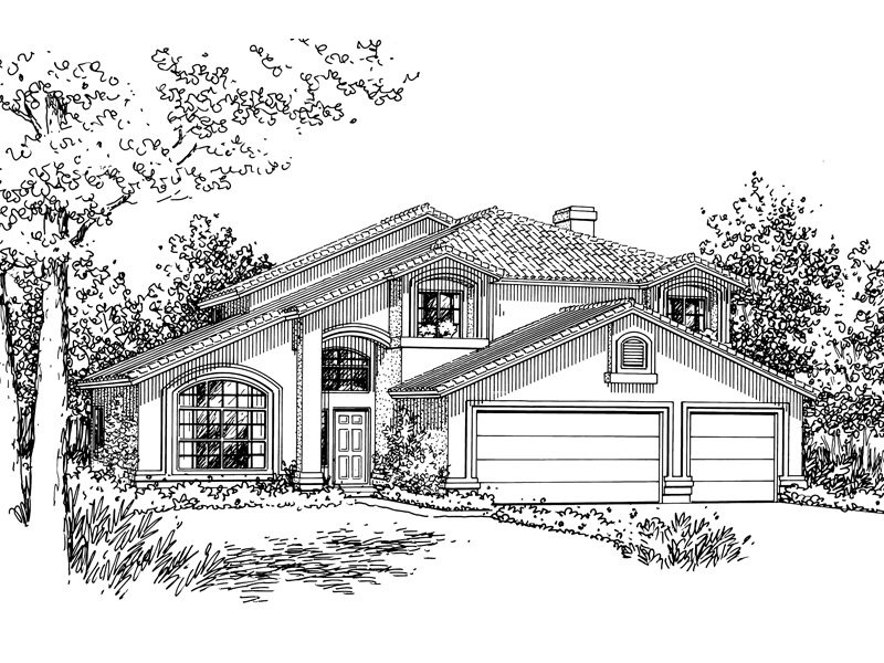 Adobe and Southwestern Plan Front of Home - 072D-0827 | House Plans and More