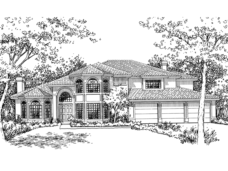 Santa Fe House Plan Front of Home - 072D-0829 | House Plans and More