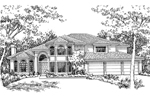Adobe and Southwestern Plan Front of Home - 072D-0829 | House Plans and More