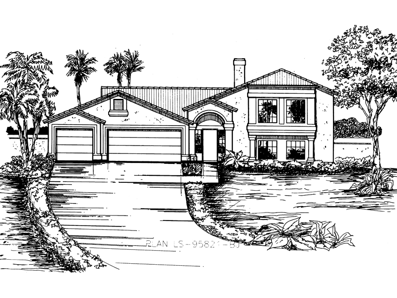 Adobe House Plans & Southwestern Home Design Front of Home - 072D-0830 | House Plans and More