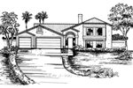 Santa Fe House Plan Front of Home - 072D-0830 | House Plans and More