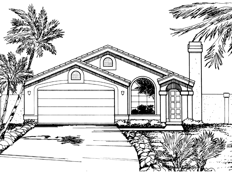 Adobe and Southwestern Plan Front of Home - 072D-0832 | House Plans and More