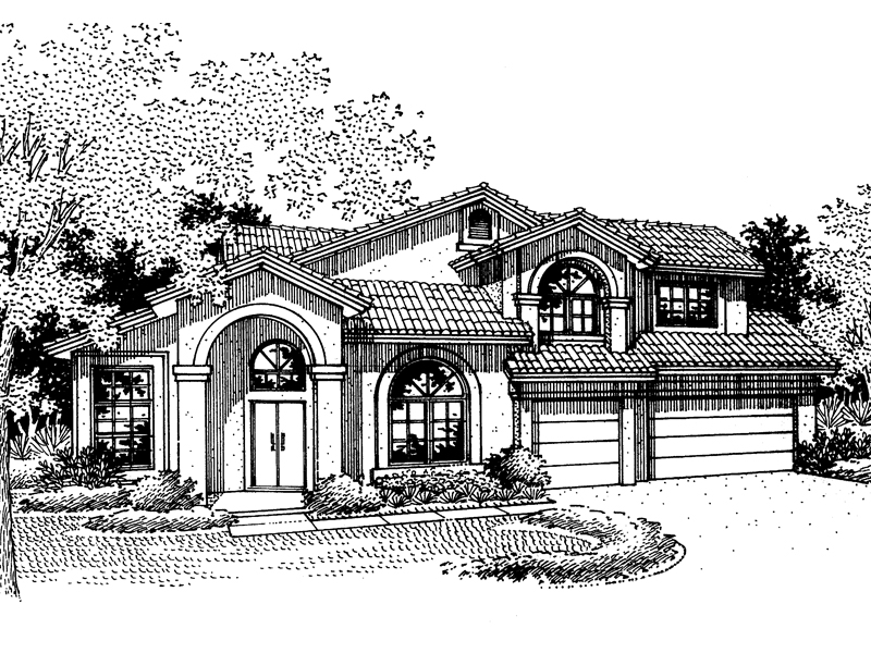 Adobe and Southwestern Plan Front of Home - 072D-0834 | House Plans and More