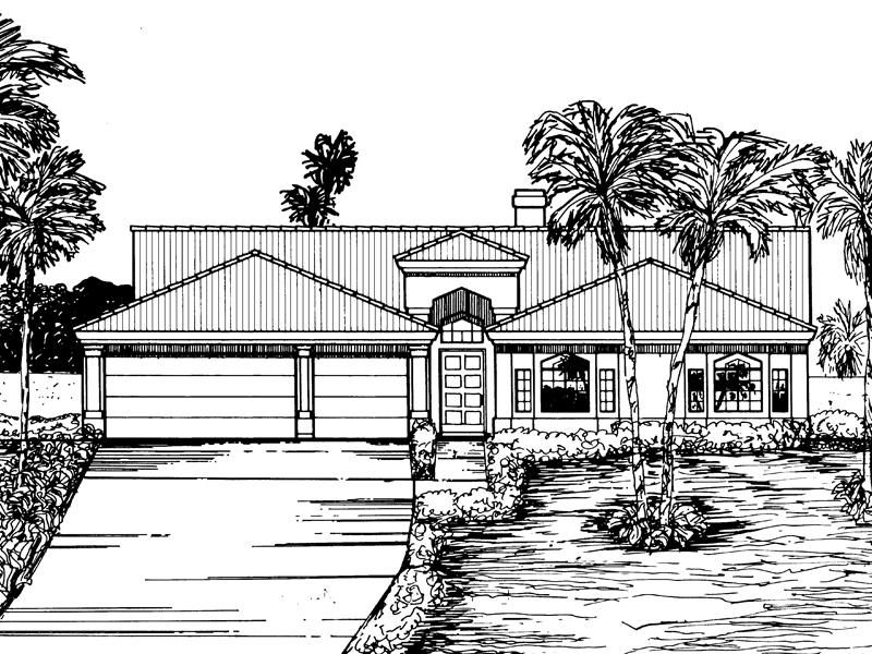 Southwestern House Plan Front of Home - 072D-0836 | House Plans and More