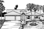 Adobe and Southwestern Plan Front of Home - 072D-0836 | House Plans and More
