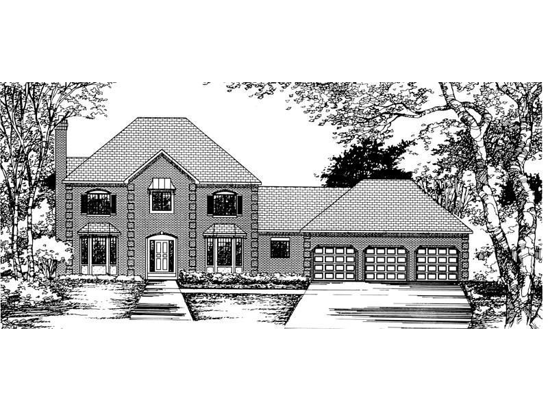 Georgian House Plan Front of Home - 072D-0843 | House Plans and More
