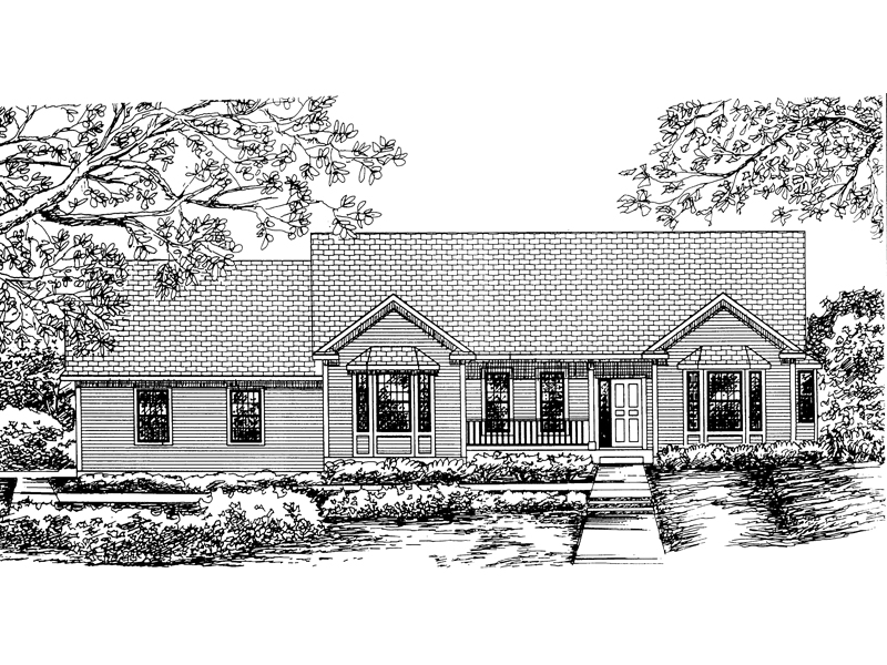 Ranch House Plan Front of Home - 072D-0845 | House Plans and More