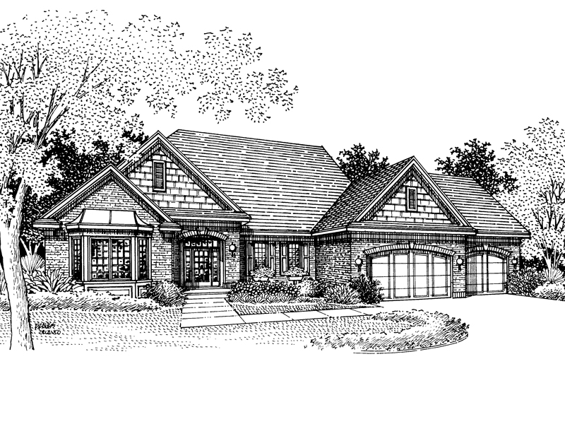 Ranch House Plan Front of Home - 072D-0850 | House Plans and More