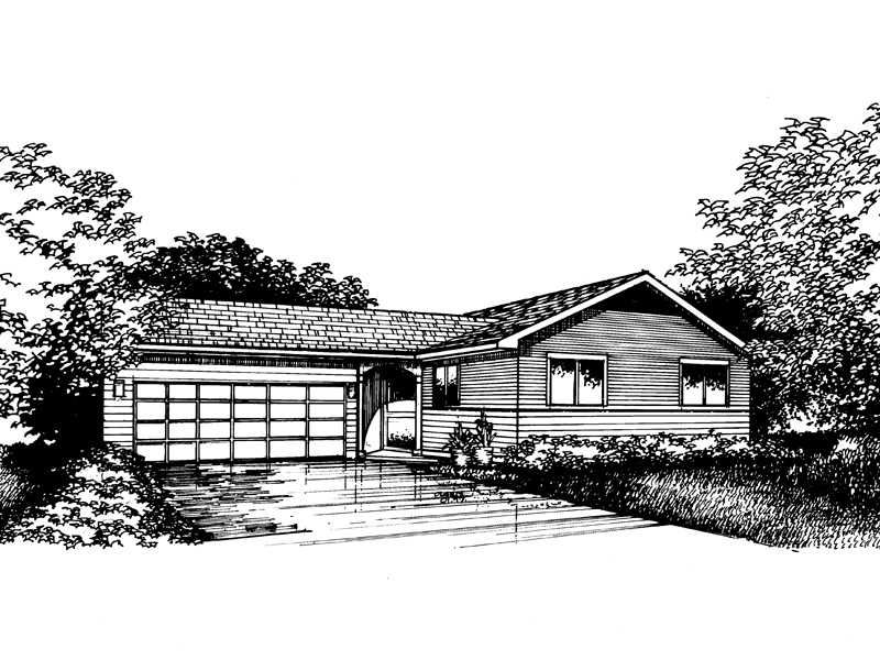 Ranch House Plan Front of Home - 072D-0856 | House Plans and More
