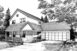 Farmhouse Plan Front of Home - 072D-0864 | House Plans and More