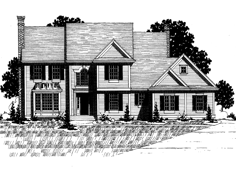 Colonial House Plan Front of Home - 072D-0888 | House Plans and More
