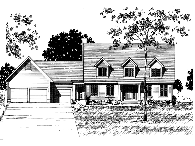 Cape Cod and New England Plan Front of Home - 072D-0893 | House Plans and More