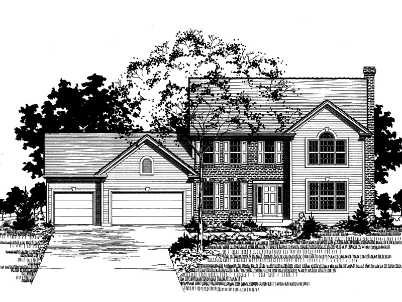 Colonial House Plan Front of Home - 072D-0895 | House Plans and More
