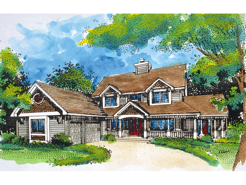 Farmhouse Plan Front of Home - 072D-0924 | House Plans and More