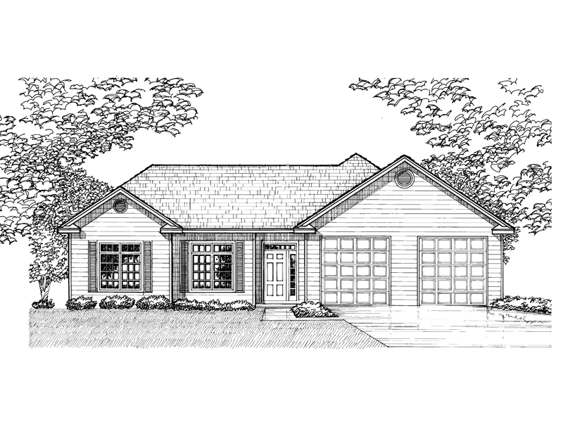 Ranch House Plan Front of Home - 072D-0927 | House Plans and More