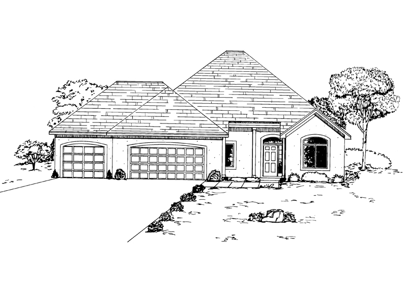 Ranch House Plan Front of Home - 072D-0936 | House Plans and More