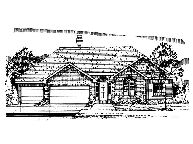Ranch House Plan Front of Home - 072D-0947 | House Plans and More