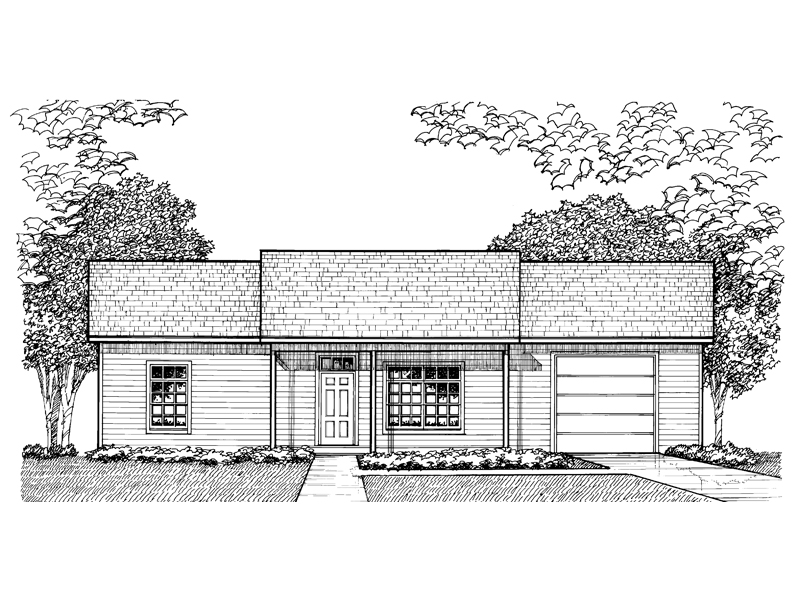 Ranch House Plan Front of Home - 072D-0955 | House Plans and More