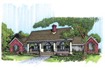 Ranch House Plan Front of Home - 072D-0956 | House Plans and More