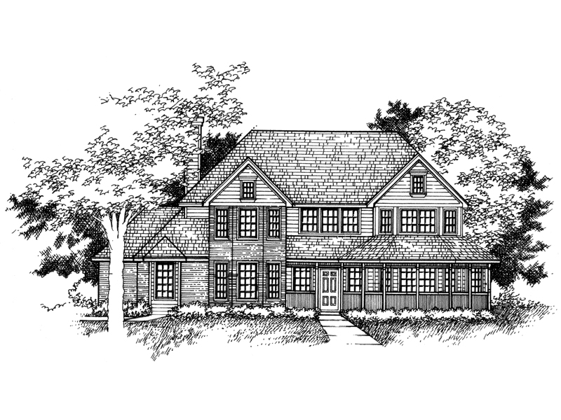 Farmhouse Plan Front of Home - 072D-0957 | House Plans and More