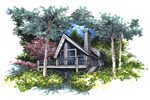 A-Frame Home Plan Front of Home - 072D-0958 | House Plans and More