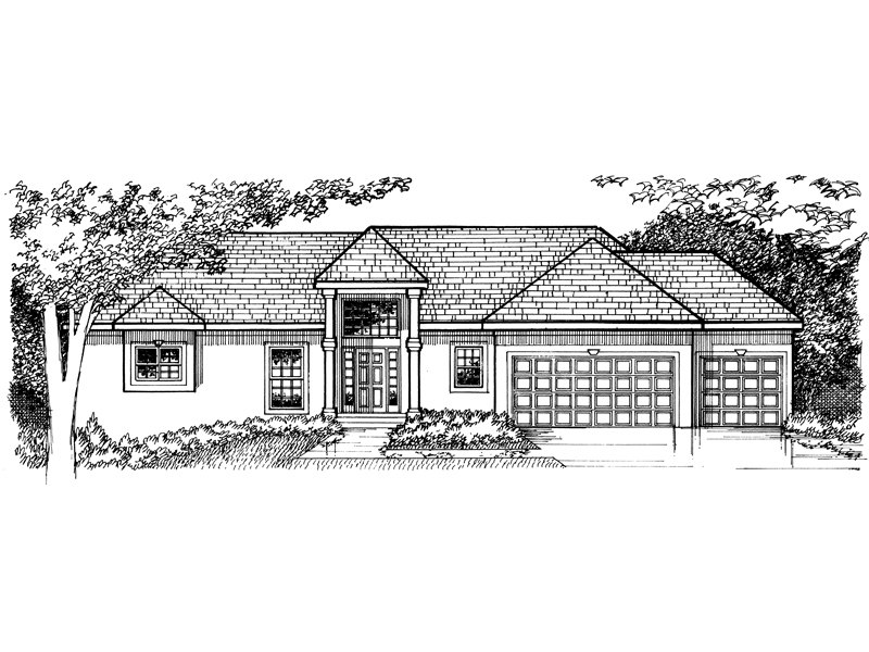 Ranch House Plan Front of Home - 072D-0966 | House Plans and More