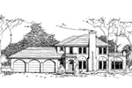 Adobe and Southwestern Plan Front of Home - 072D-0983 | House Plans and More