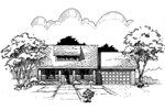 Ranch House Plan Front of Home - 072D-0988 | House Plans and More