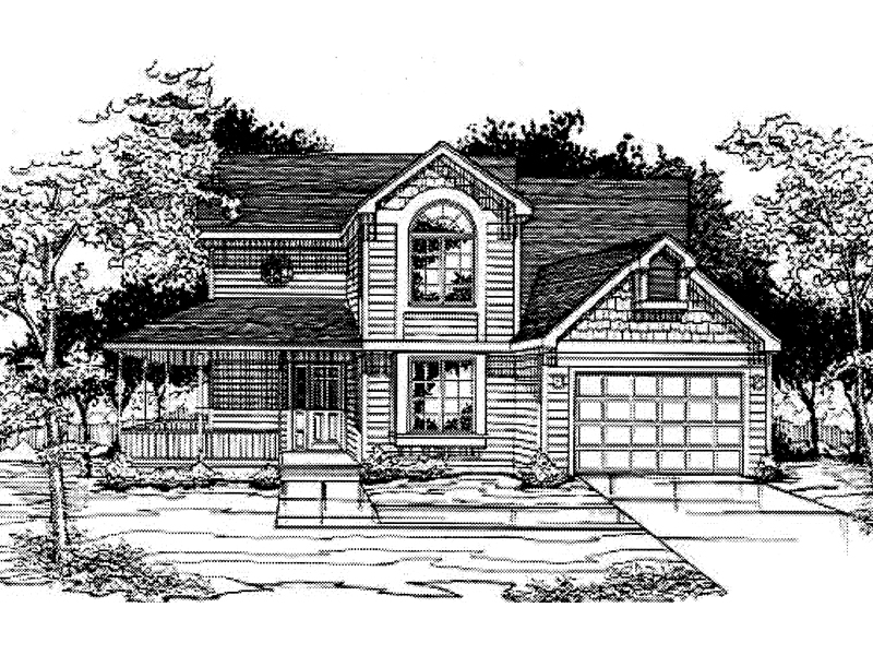 Farmhouse Plan Front of Home - 072D-0990 | House Plans and More