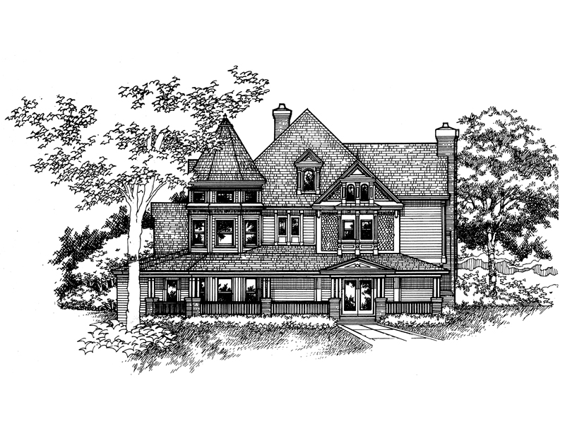 Farmhouse Plan Front of Home - 072D-0992 | House Plans and More