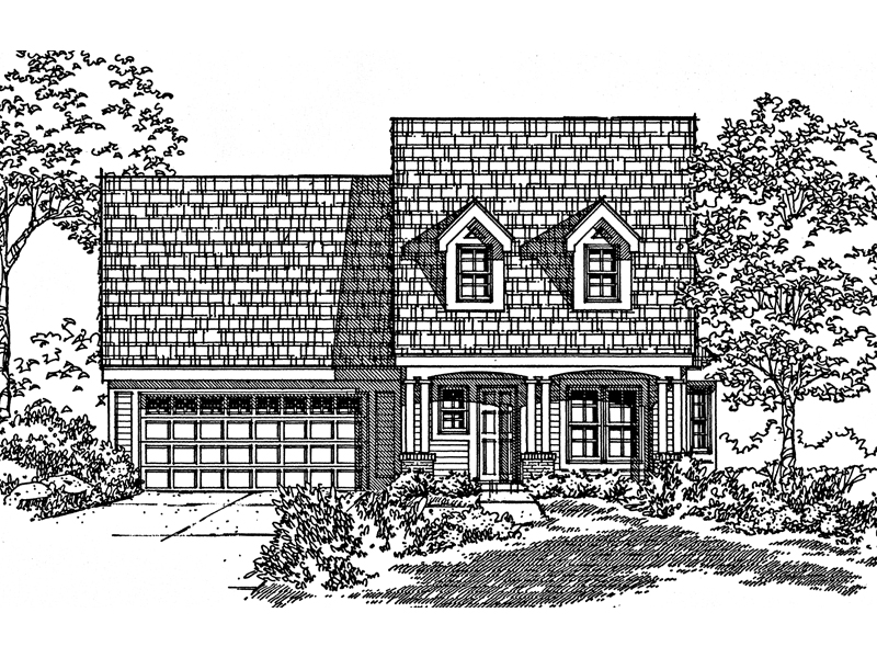 Saltbox House Plan Front of Home - 072D-0998 | House Plans and More