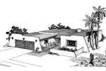 Adobe and Southwestern Plan Front of Home - 072D-1007 | House Plans and More