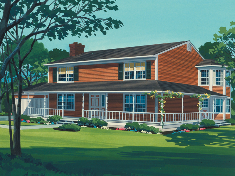 Farmhouse Home Plan Front of Home - 072D-1012 | House Plans and More