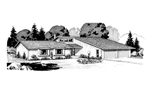 Ranch House Plan Front of Home - 072D-1018 | House Plans and More